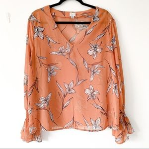 A New Day | Orange Floral Blouse